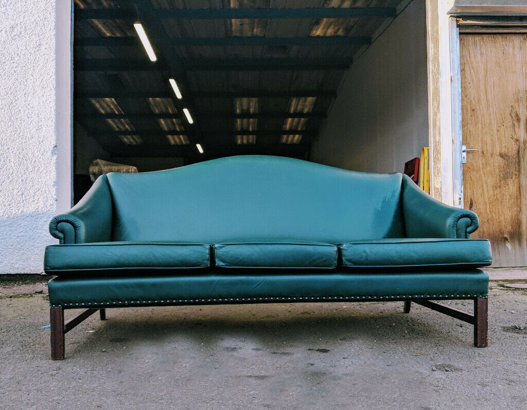 Emerald Green Leather Parker Knoll 3 Seater Chesterfield Style Sofa