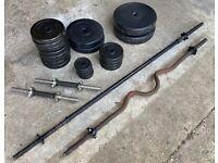 Barbell set, curler & 57kg weight