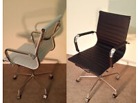 BRAND NEW EAMES BLACK OR WHITE RIBBED FAUX LEATHER PREMIUM QUALITY OFFICE BOARDROOM CHAIRS