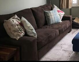 Large brown 3 seater sofa