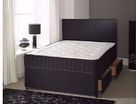 DAMASK FABRIC DIVAN BED BASE WITH UNDERBED STORAGE & MATTRESS** 3FT SINGLE 4FT6 DOUBLE 5FT KINGSIZE
