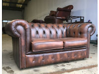 Chesterfield 2 seater tan brown leather sofa DELIVERY AVAILABLE