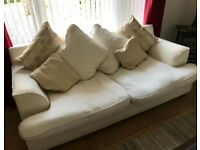 2 & 3 seater Sofa (white/cream), free delivery this weekend only