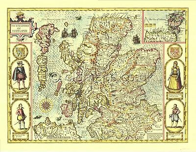 Old Map SCOTLAND Replica John.Speed 17c.  ALL Hand Coloured FREE Post in UK
