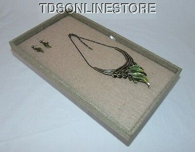Multipurpose Jewelry Display Tray Burlap Covered With Burlap Insert