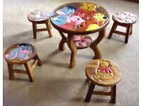 Winnie The Pooh children's table and four stools