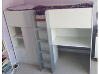High Sleeper Cabin Bed, suitable for age 6 years to adult, with wardrobe, desk, drawers and shelving