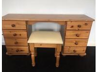 Solid Pine dressing room table with stall