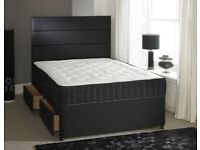 Luxury Black Leather Double Bed and Mattress