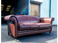 Laura Ashely gloucester camel back brown leather sofa