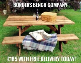 Quality Strong Rustic Handmade Pressure Treated Picnic Table £185 including Delivery and Assembly