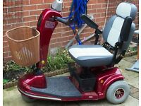 RED SHOPRIDER MOBILITY SCOOTER & CAR RAMP. EXCELLENT CONDITION,