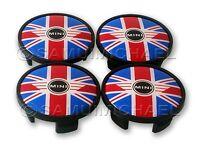 4 x MINI UNION JACK ALLOY WHEEL CENTRE CAPS 54mm UK GB FLAG