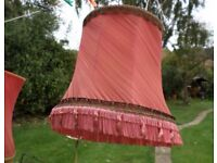 3 large VINTAGE silk pink & gold braided lampshades Standard + 2