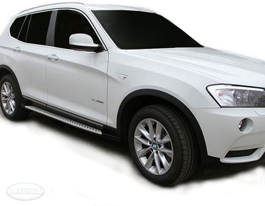 For BMW X3 F25 2010 To 2013 Aluminium ABS Side Steps Bars Running Boards Black