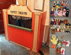 Beautiful Hand Made Home Puppet Theatre with 28 Puppets!