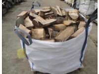 1ton bulk bag of barn dried seasoned hardwood firewood logs with free delivery and stacking £60