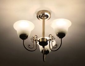 Three Lamp Ceiling Light - light bronze and frosted glass shades.
