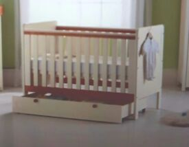 Two tone cot has small mark on, comes with under draw, mattress including with washable cover.