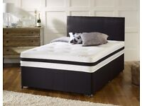 EXCLUSIVE OFFER - Double SIZE 4FT6 INCH SMALL DOUBLE 4FT SEMI ORTHOPAEDIC DIVAN BED AND MATTRESS