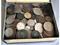 HOUSE CLEARANCE FIND OF COINS IN AN ANTIQUE BISCUIT TIN