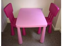 Children's table and two chairs for indoor and outdoor