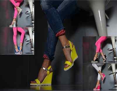 Designer Mega Sexy Damenschuhe Keilabsatz Peep-Toes Pumps Gelb,Schw.Pink-NEON Pink Toe Pumps