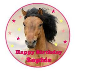 Horse Cake Topper - Pony Cake Decoration - Horse Birthday Cake Round Square 7.5