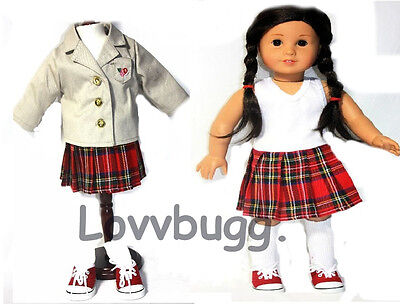 "Lovvbugg Studious Me School Uniform Set for 18"" American Girl Doll Clothes"