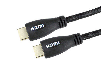 White LED light up Ultra HDMI 1.4 cable HD TV 4k braided gold connecitons 5Mtr