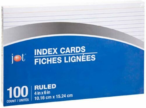 Jot Index Cards 100 Count White Striped Cards 4 Inch x 6 Inch