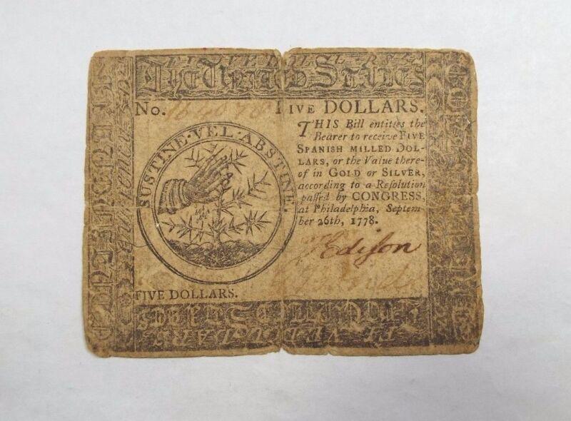 BARGAIN 9/26/1778 US Colonial Currency Philadelphia $5 FINE CC-79