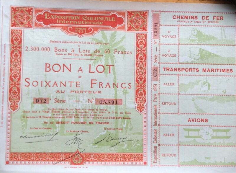 Lot Of Five Russian & French Stocks & Bonds