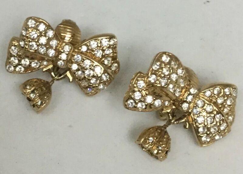 CAROLEE Goldtone Ribbon Style Rhinestones Clip On Earrings-NEW