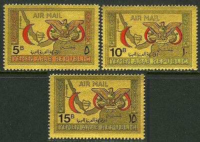 Yemen C33K-C33M, MI 727-729, MNH. Red Crescent & Eagle, Map, 1968