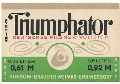 Konsum-Brauerei Weimar-Ehringsdorf, DDR-Bieretikett Triumphator