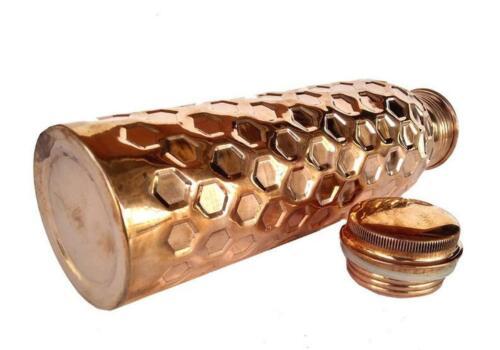 Pure Hammered Diamond Water Bottle Copper Bottle  Ayurveda Health Benefit Yoga