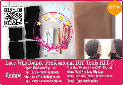 Swiss Wig Lace Toupee Monofilament Net With Ventilating Needle 19pcs DIY tools-C