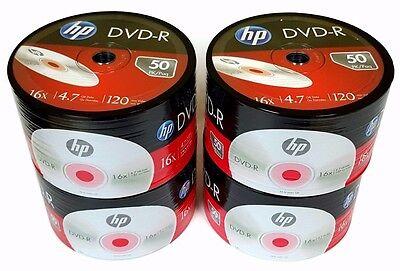 200 HP Blank DVD-R DVDR Logo Branded 4.7GB 16X Media Disc + 200 Paper Sleeves