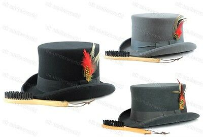 Mens Quality Hand Made 100% Wool Top Hat Wedding Ascot Racers Adults Fancy - Top 100 Fancy Dress Kostüm