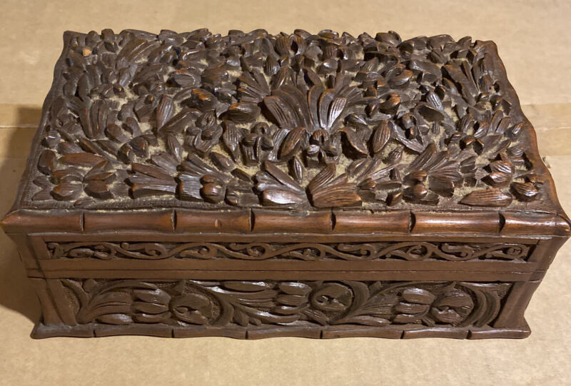 vintage elaborate hand carved  wooden wood box-BEAUTIFUL!!!!!!!!