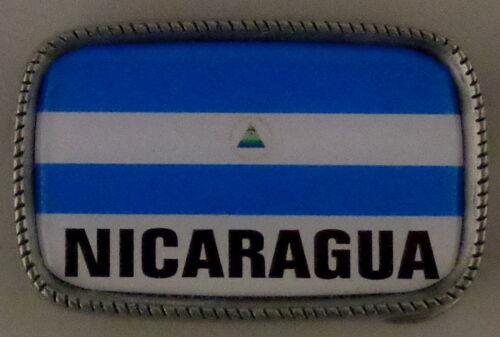 NICARAGUA FLAG Antique Silver Belt Buckle USA MADE Nicaraguan