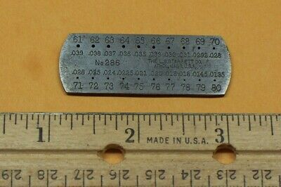 Vintage Starrett No. 286 Drill Steel Wire Gage 61- 80 Made In The Usa Gauge