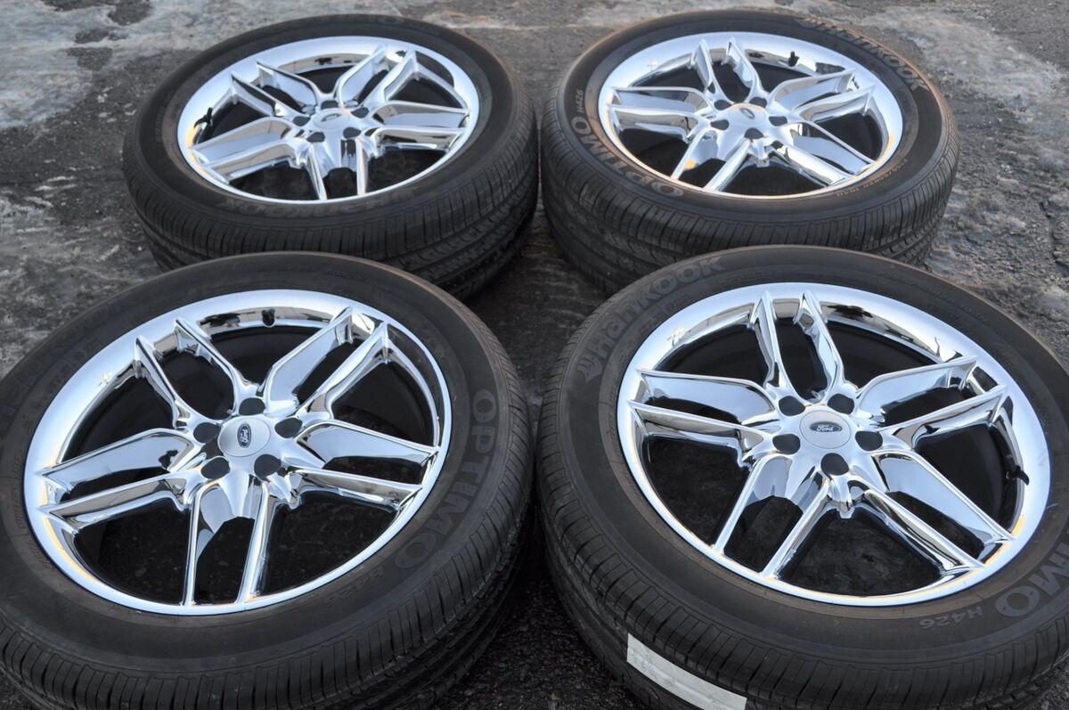 "20"" Ford Explorer Chrome Wheels Tires 255 50 20 Hankook Set 4 Factory"