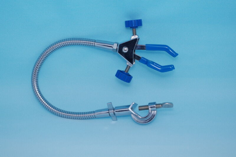 Lab snake S-shaped DOUBLE ADJUSTABLE Three  Finger prong UNIVERSAL CLAMP  new