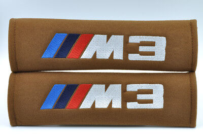 Embroidery Seat Belt Cover Harness Shoulder Brown Pads Pair BMW M3 Power Logo