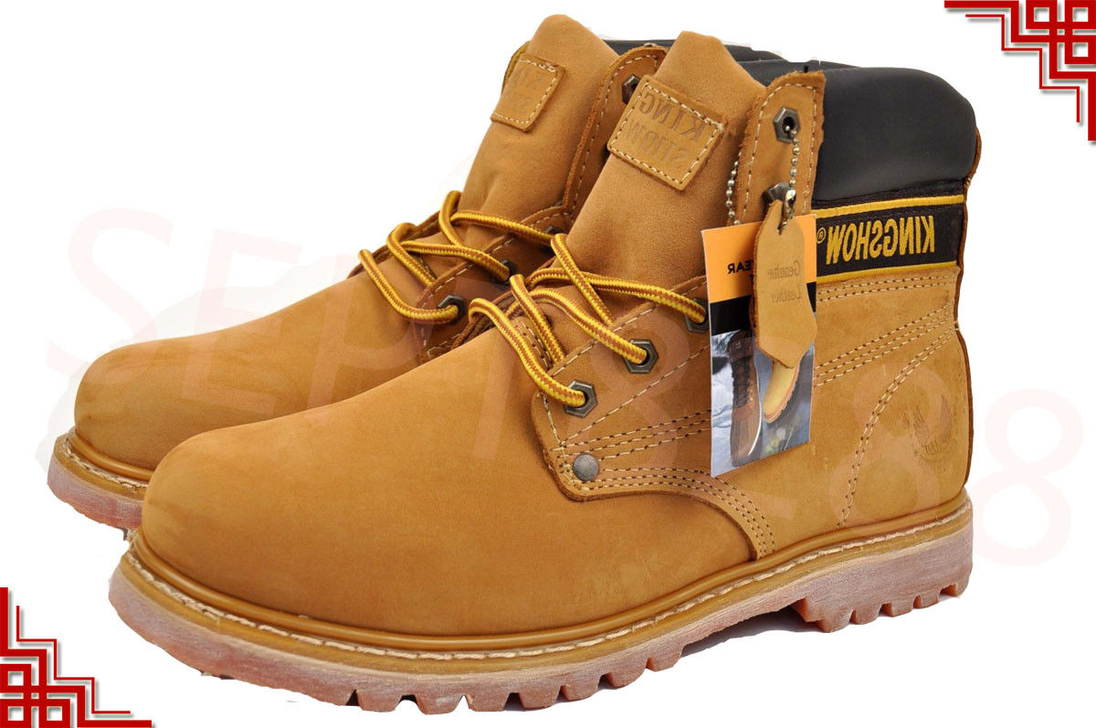 Kingshow Winter Snow Work Boots Mens  Work Shoes Genuine Lea
