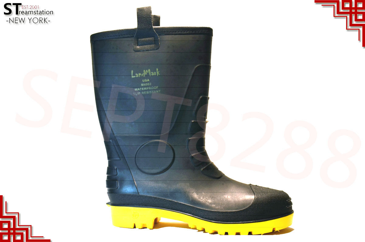 Men's Black Winter Snow Rain Boots Warm Fleece Lined Thermolite Rubber Insulated 1