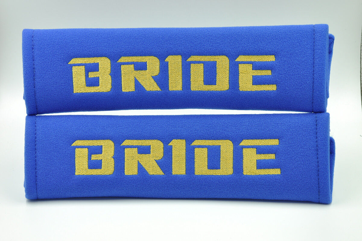 Embroidery Gold on Blue Bride Racing Logo Seat Belt Cover Shoulder Pads Pairs