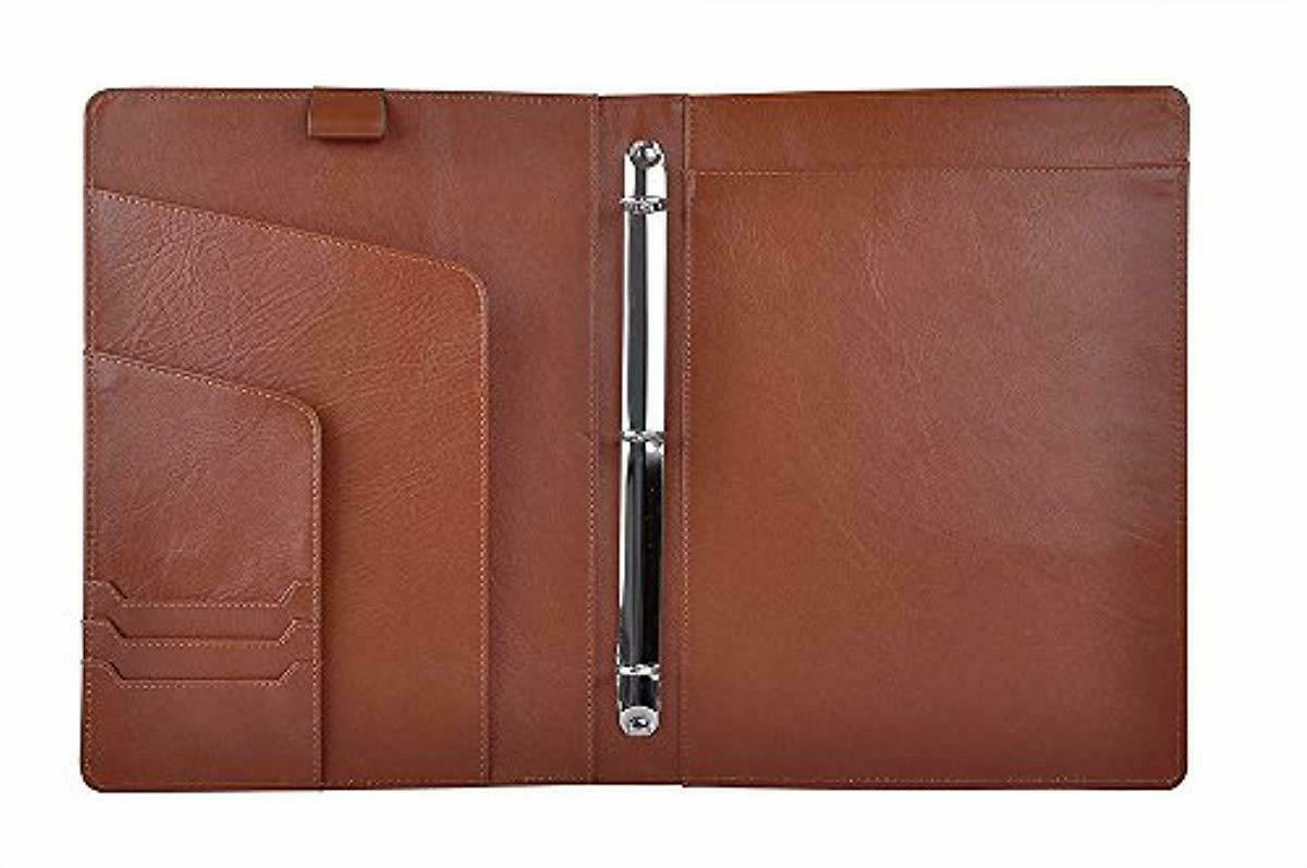 Leather Organizer Padfolio with 3-Ring Binder, Fits Letter-S